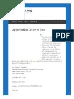 Appreciation Letter to Boss