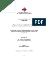 """""""Creación de un plan de gestión del talento humano para el Departamento de Recursos Humanos de la Eléctrica de Guayaquil"""""""