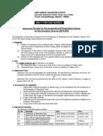 Admn Circular for Prep-prePrep of AEES for 2015-16