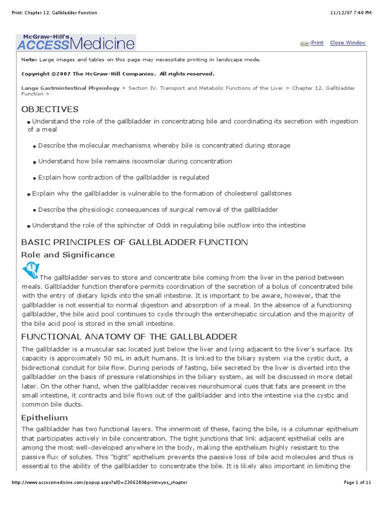 Print Chapter 12 Gallbladder Function Gallbladder Bile
