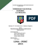 Informe de Orgánica N° 1 Propiedades de los Compuestos Organicos