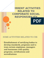 Current Activities Related to Corporate Social Responsibility