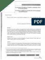 Política educativa para la enseñanza del inglés en Colombia y Pedagogía Crítica