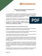 Las 72 medidas pactadas por PSOE y Ciudadanos para la investidura de Susana Díaz (PDF)