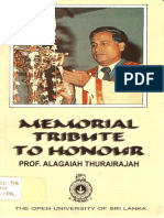 Memorial Tribute to Honour PROF. Alagaiah Thurairajah