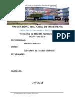 MAXIMA TRANSFERENCIA POTENCIA Laboratorio de Circuitos Electricos I