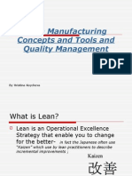 Lean Manufacturing - Concept, Tools & Quality Management