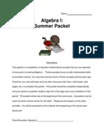 algebra i summer packet