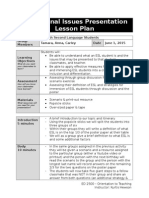 education issues lesson plan - template