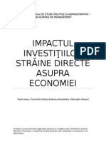 Impactul investitiilor straine directe asupra economiei