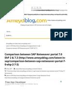 Comparison Between SAP Netweaver Portal 7.0 EhP 2 & 7.3 - AmeyaBlog.comameyaBlog