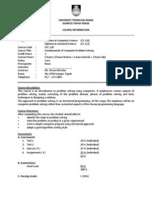 02c Csc128 Course Information Student Copy Pdf Control Flow Array Data Type