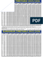 Ramadhan Timetable 2015.