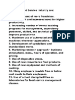 Trends in Food Service Industry Are