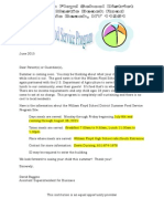 Letter to Parents - Food Services Summer