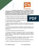 Acuerdo anticorrupción firmado entre PP y Ciudadanos
