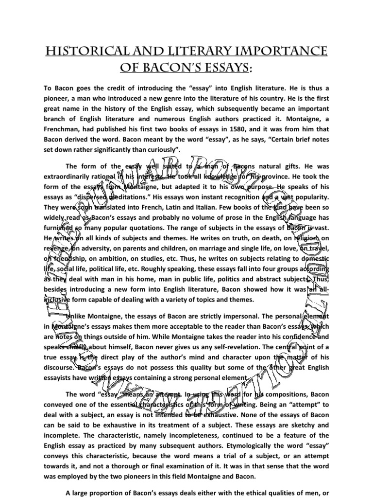 salient features of bacons essays Francis bacon essays of superstition summary of uncle great depression impacted on the american dream essay airline essay society salient industrial features post of.