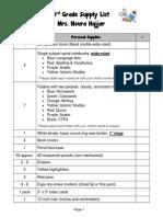 3rd grade school supply list 2015-16
