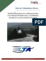 Siniestralidad en operaciones con helicóptero de la empresa INAER  en los últimos 10 años