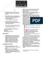 Batman Miniatures Game; Quick Reference Sheet
