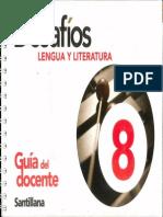 Portada - Desafios Lengua Y Literatura 8 - Guia Del Docente - Santillana