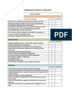 checklist for evaluating resources used in a classroom