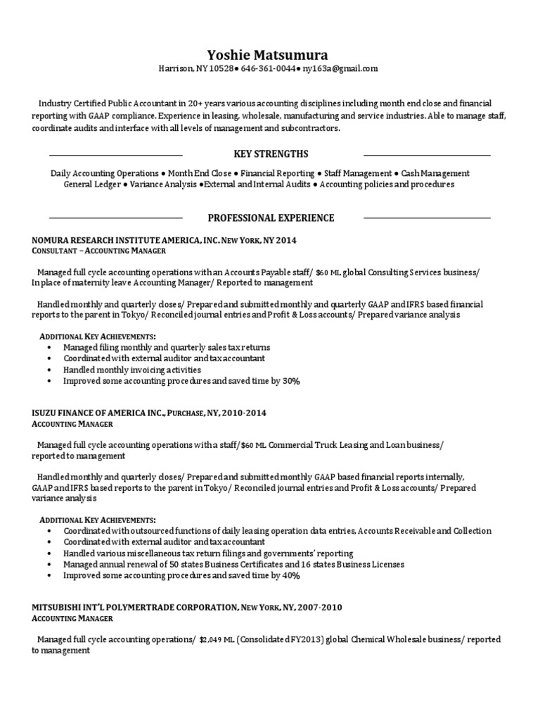 manager accounting closing reporting in harrison ny resume
