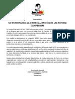 Comunicado - Contra Criminalización de Rondas Campesinas