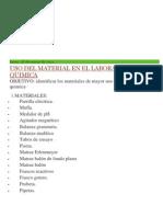 Uso Del Material en El Laboratorio de Quimica