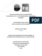 Efectos Antropicos en Los Parámetros Fisicoquímicos de El Rió Manzanares