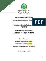 Reseña Del Pensador - Carlos Monge