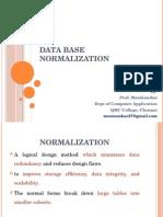 DB Normalization by Prof.manikandan