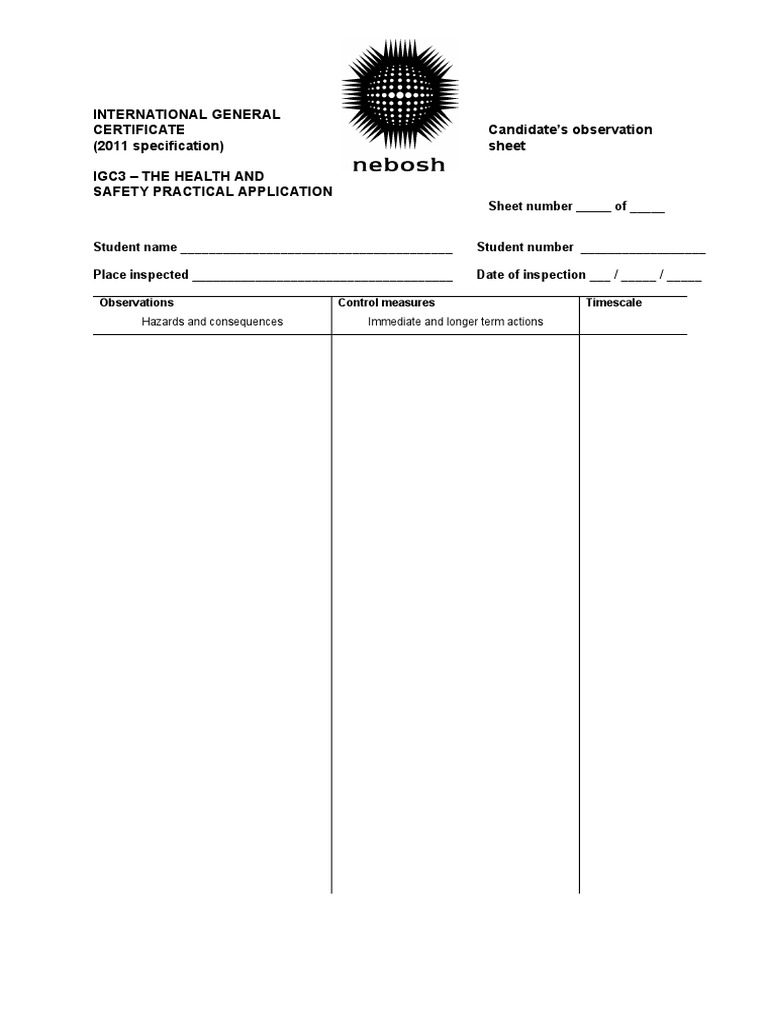 Candidate Nebosh Paperreport Safety Society