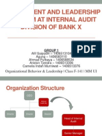 Management & Leadership Problem at Internal Audit Division