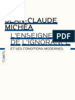 L'enseignement de l'ignorance - Jean-Claude Michéa