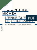L'enseignement de l'ignorance - Jean-Claude Michéa