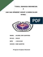 TUGAS 4  SOFTSKILL BAHASA INDONESIA 2 (DAFTAR RIWAYAT HIDUP (CURRICULUM VITAE)