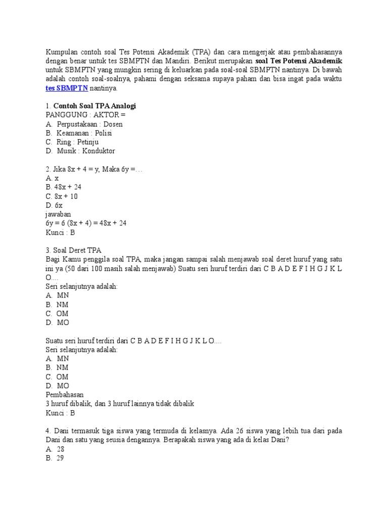 Download Contoh Soal Akademik Polri Pdf - Contoh Soal Terbaru