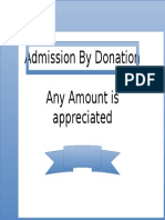 Sign - Admission by Donation