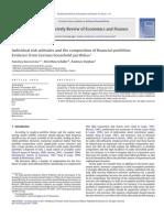 Barasinska Et Al. - Individual Risk Attitudes and the Composition of Financial Portfolios Evidence From German Household Portfolios