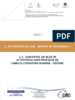 T3_2.2. Conceptul de Blog În Activitatea Unui Profesor