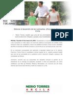 10-05-2015 Detonar el desarrollo de las comisarías, ofrece Nerio Torres Arcila