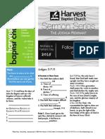 the joshua Remnant 3 Judges 3:7-11 Handout 061415