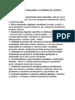 Criterii de Evaluare a Lucrarii de Licenta