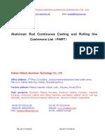 Aluminum or Alloy Rod CCR Line Customer List2014