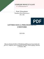 Tchaadaiev - Lettres Sur La Philosophie de l'Histoire