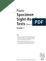 Sight Reading - Specimen Tests G1