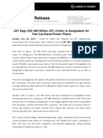 PRESS REL - L&T Bags USD 480 Million EPC Orders in Bangladesh for Two g...