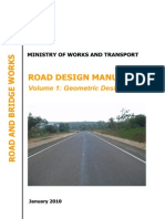 Uganda Road Design Manuals. Volume 1 Geometric Design Manual