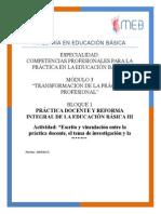 Escrito y Vinculación Entre La Práctica Docente, El Tema de Investigación y La RIEB